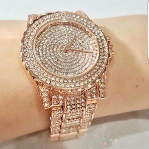 Rose Gold Crystal Covered Watch